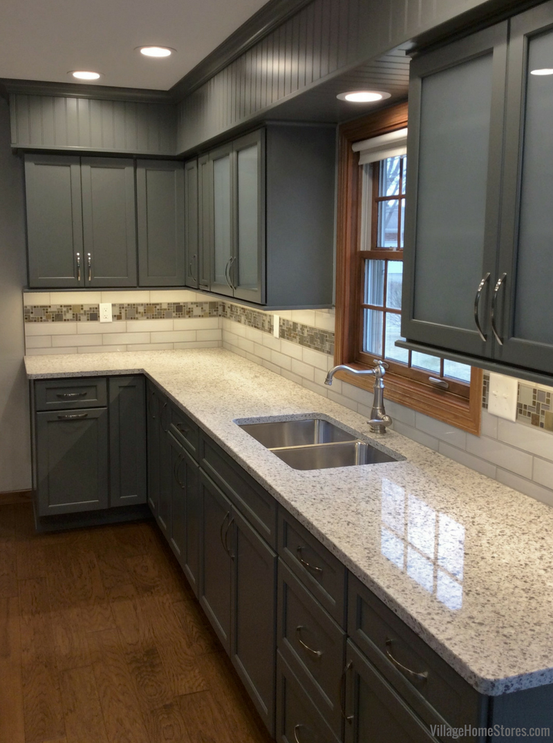 Geneseo kitchen remodel with DuraSupreme cabinetry in curated painted Attitude Gray finish. Remodeled from start to finish by Village Home Stores. | VillageHomeStores.com