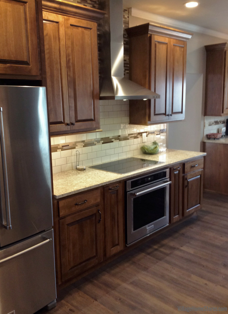 Birch Briarwood cabinetry in a remodeled Princeton, IL kitchen. | VillageHomStores.com