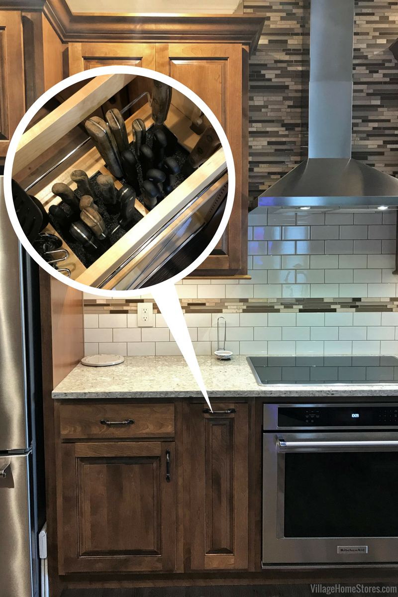 Koch cabinetry in a remodeled Princeton, IL kitchen with pullout knife block. | VillageHomeStores.com