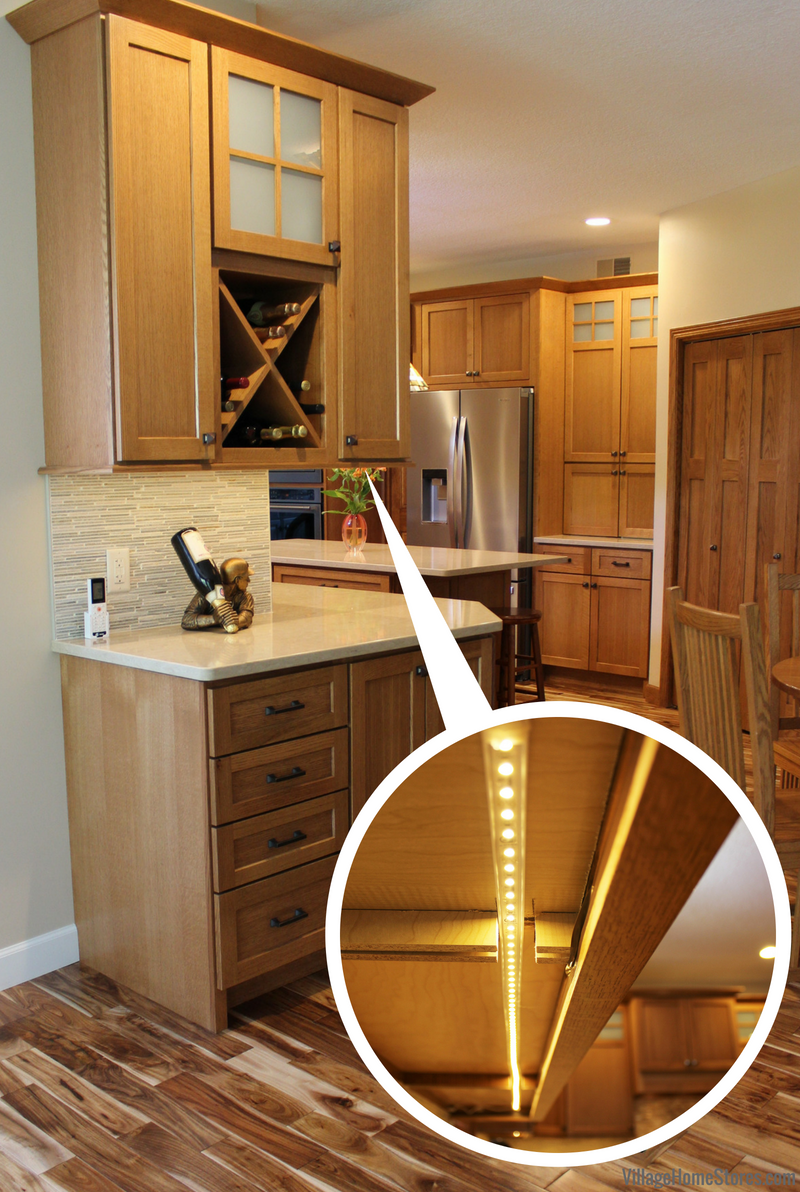 Bettendorf Iowa Quartersawn Oak kitchen with Diode undercabinet lighting system. Kitchen remodeled from start to finish by Village Home Stores. | VillageHomeStores.com