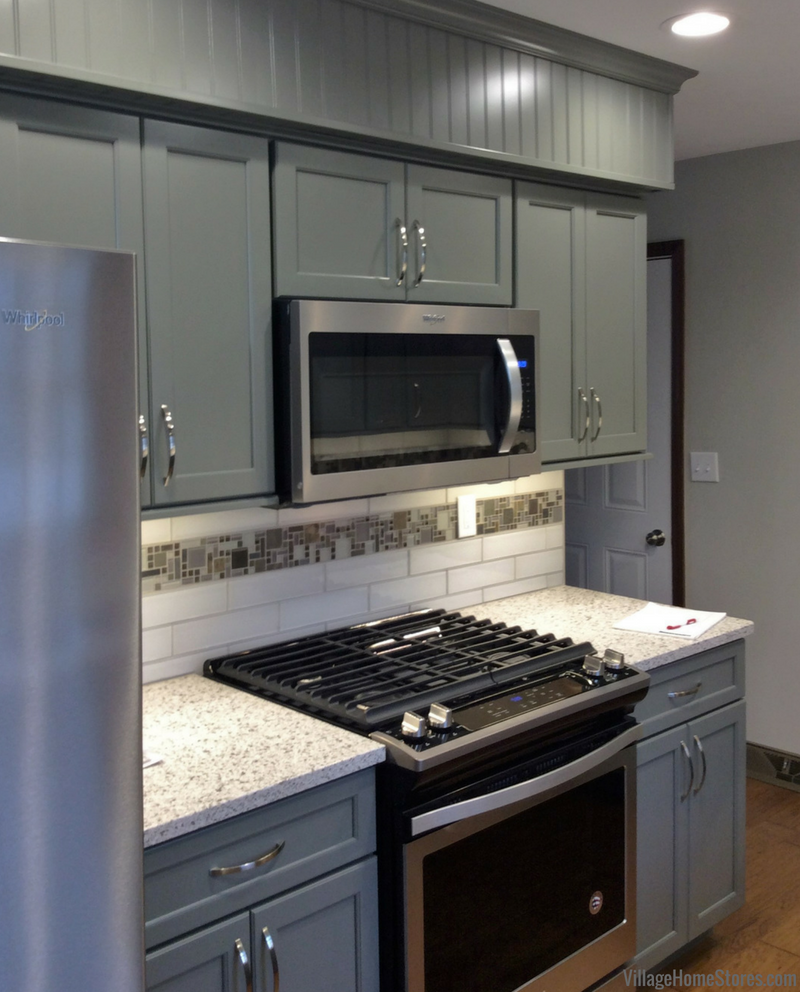 Geneseo kitchen remodel with DuraSupreme cabinetry in curated painted Attitude Gray finish. | VillageHomeStores.com