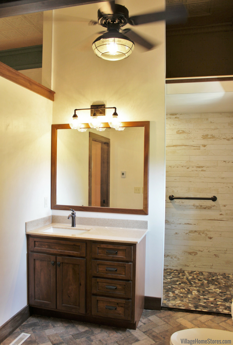 Bathroom remodel in Annawan, IL with rustic details. Design by Chris Robinson with materials and remodel project management by Village Home Stores. | VillageHomeStores.com