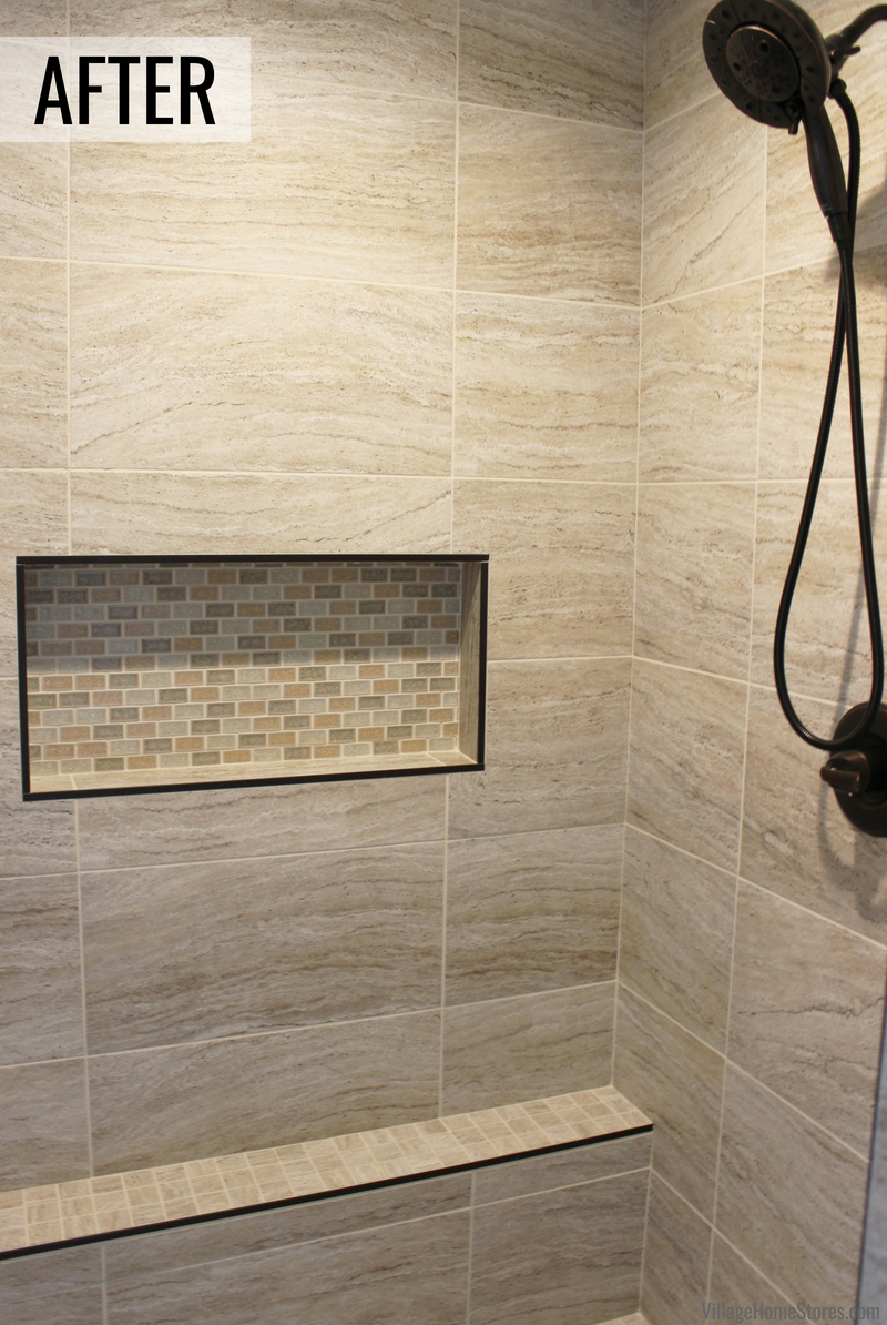 Custom tiled shower by Village Home Stores in a Bettendorf Iowa home. | VillageHomeStores.com