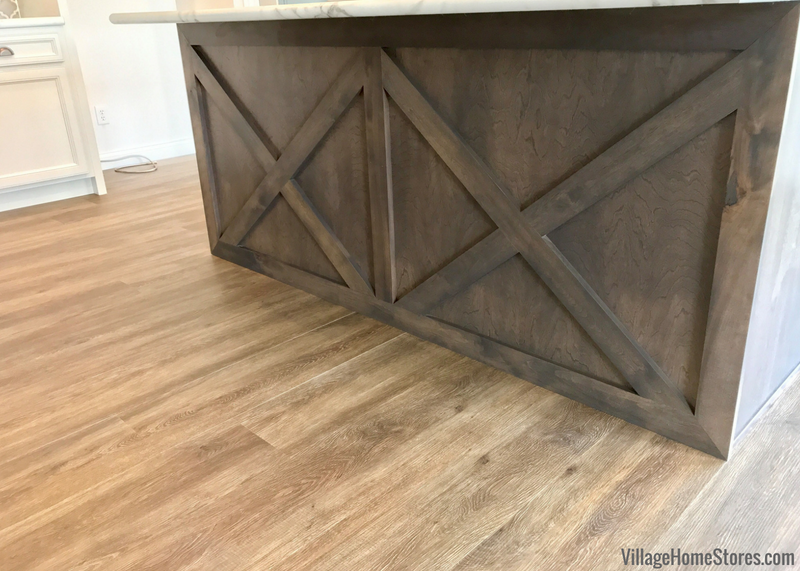 Koch Express kitchen island with X back design in rustic birch wood and Stone stain. Colona Illinois New Home by Hazelwood Homes with design and materials from Village Home Stores. | villagehomestores.com