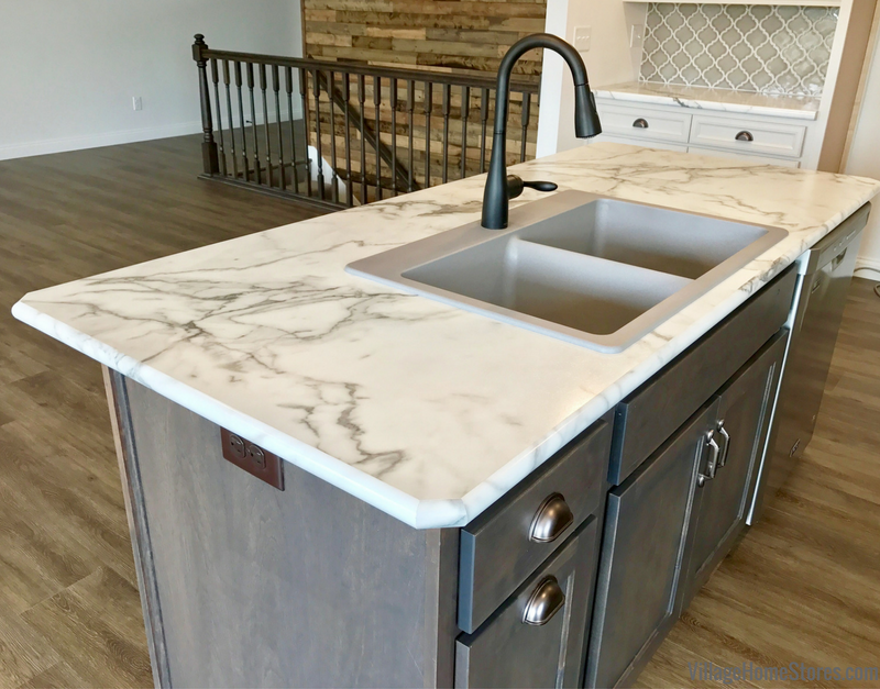 Marble look Formica laminate top in Calacatta Marble color with full wrap edge and drop in kitchen sink. Colona Illinois New Home by Hazelwood Homes with design and materials from Village Home Stores. | villagehomestores.com