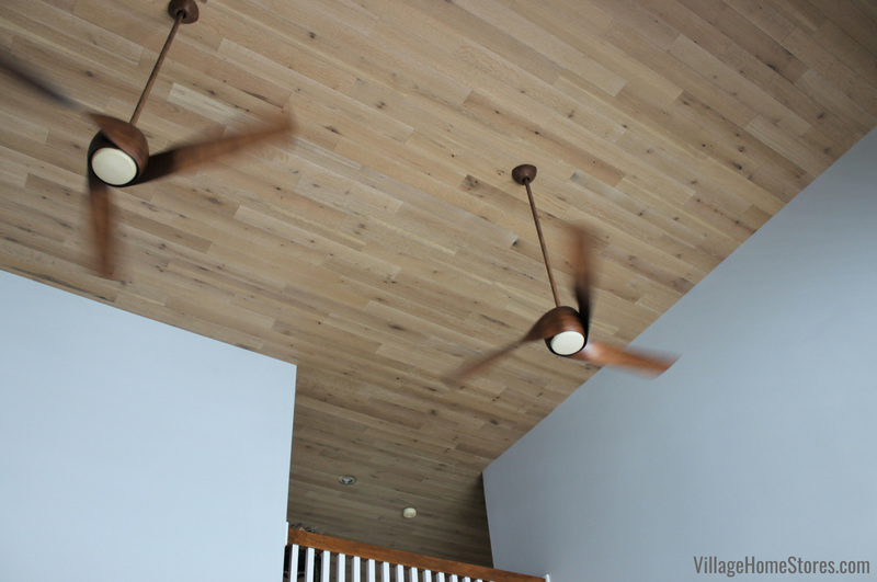 Stick-on wallplank system installed on a quad cities area ceiling with unique ceiling fans. | VillageHomeStores.com