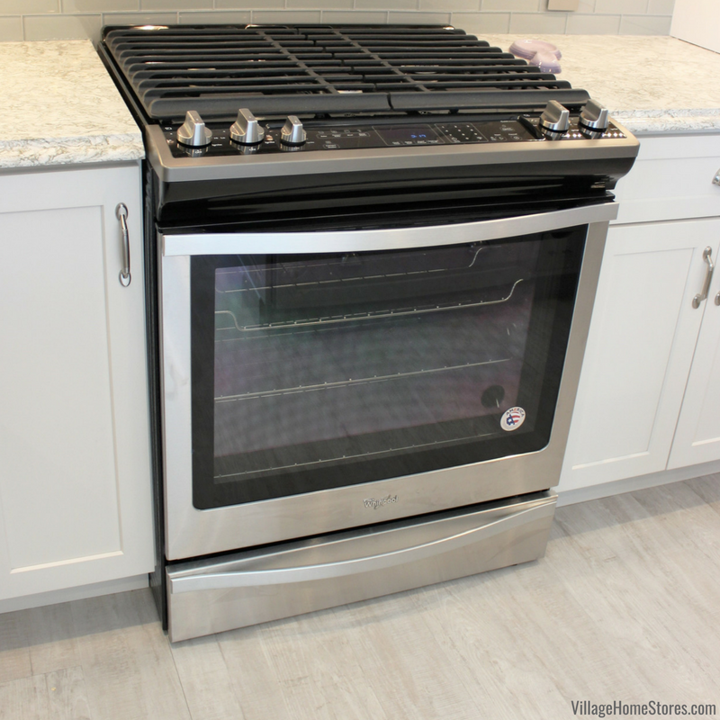 Kitchen remodel in Alpha Illinois with Whirlpool slide in range n Stainless Steel. | VillageHomeStores.com