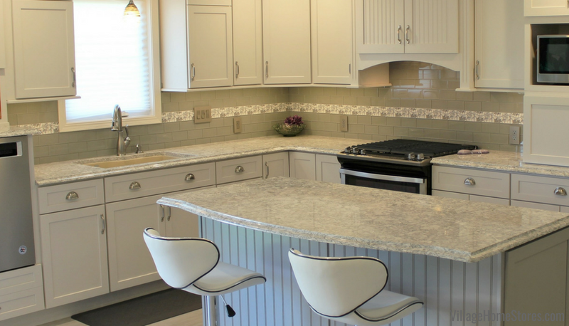 Kitchen remodel with bricklay subway tile backsplash and accent of ivy shadow gray listello. | VillageHomeStores.com
