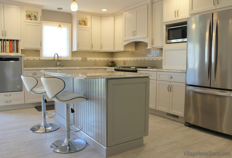 Kitchen remodel in Alpha, IL with painted Dura Supreme cabinetry and Cambria quartz. | villagehomestores.com
