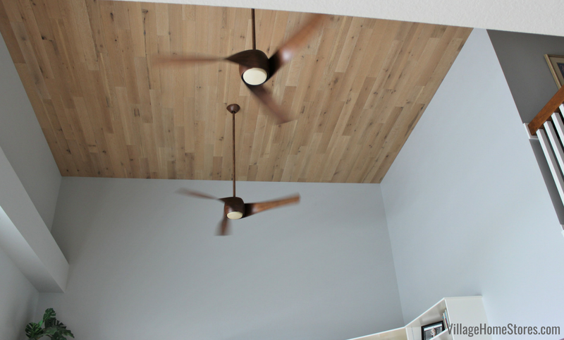 Stick-on wallplank system installed on a quad cities area ceiling. Shown in biscuit color wallplank. Product and installation by Village Home Stores. | villagehomestores.com