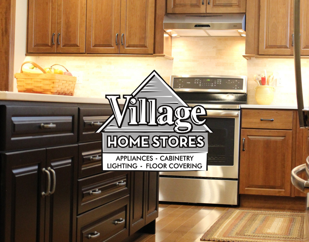 Davenport Ia Warm Cherry Cabinets And Large Black Painted Island Village Home Stores Blog