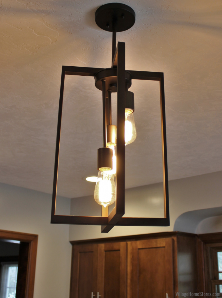 Moline Illinois kitchen with Artcraft Gastown pendant light. Kitchen remodeled from start to finish by Village Home Stores. | villagehomestores.com