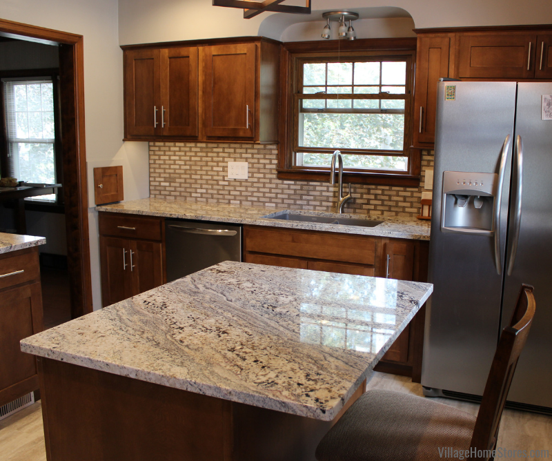 Moline Illinois kitchen with Nevasca Mist granite and Koch Cabinetry remodeled from start to finish by Village Home Stores. | villagehomestores.com