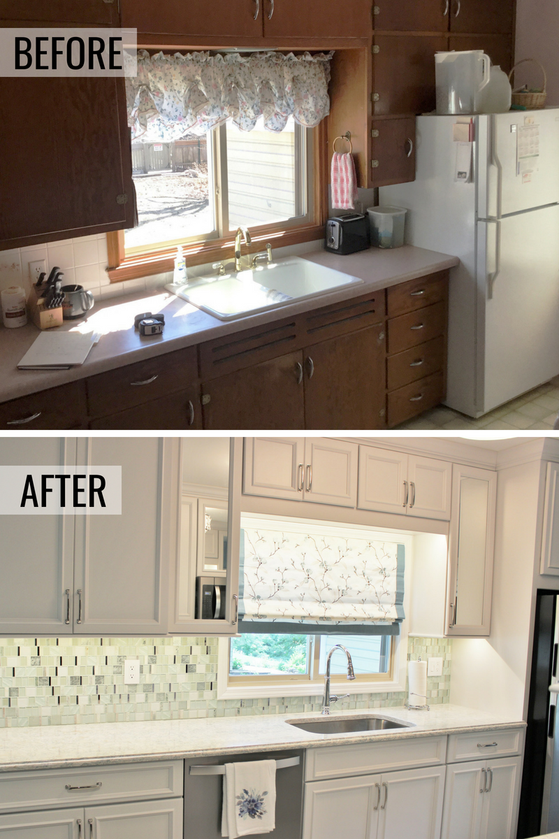 Muscatine Iowa before and after kitchen remode. Design, materials, and full project management from Village Home Stores. Koch Express cabinetry and Cambria quartz featured. | villagehomestores.com