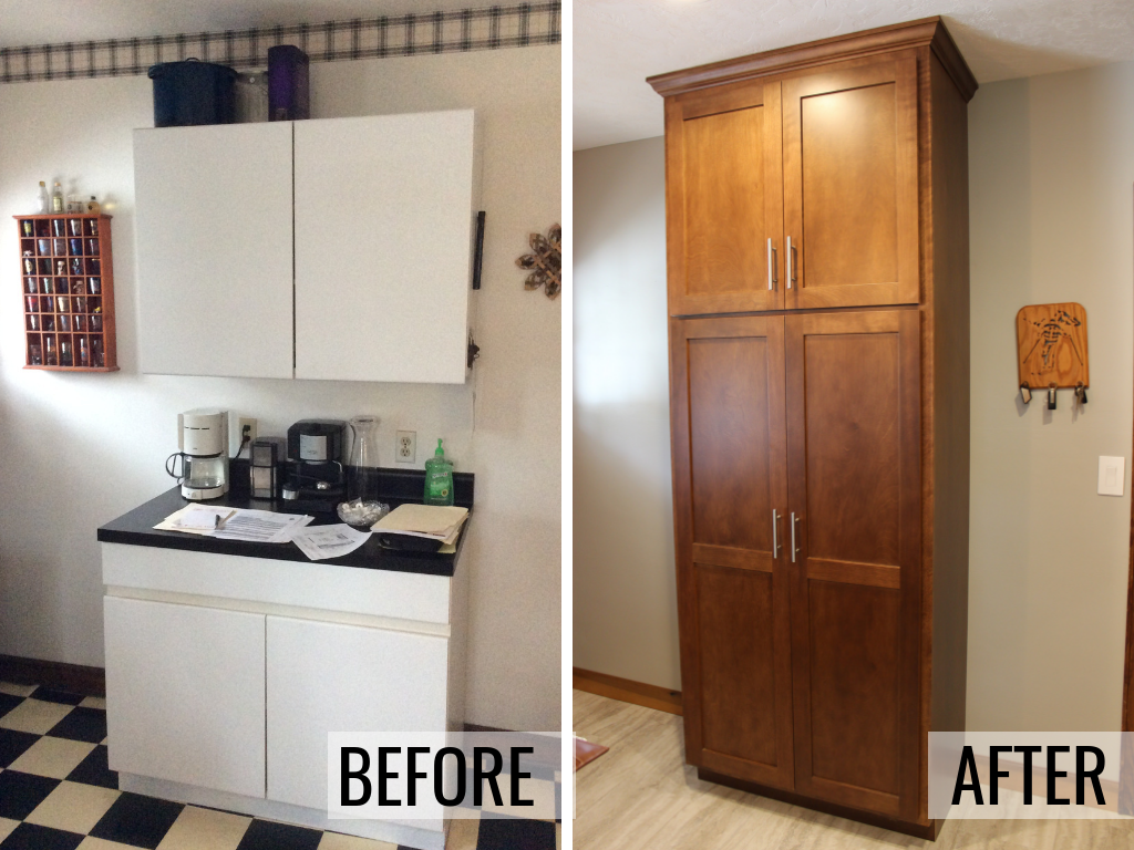 Moline Illinois kitchen tall pantry cabinet in a Birch wood and Chestnut finish remodeled from start to finish by Village Home Stores. | villagehomestores.com