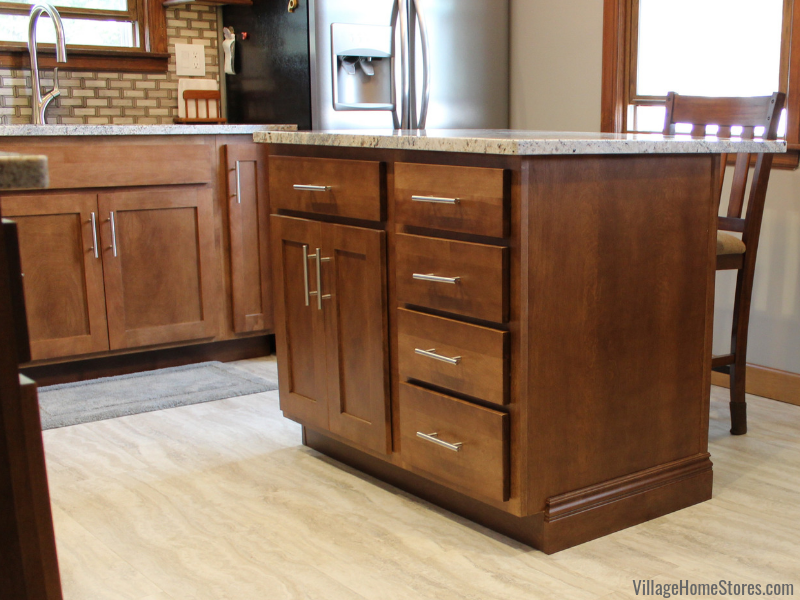 Moline Illinois kitchen with Koch cabinetry in Birch wood and Chestnut finish remodeled from start to finish by Village Home Stores. | villagehomestores.com