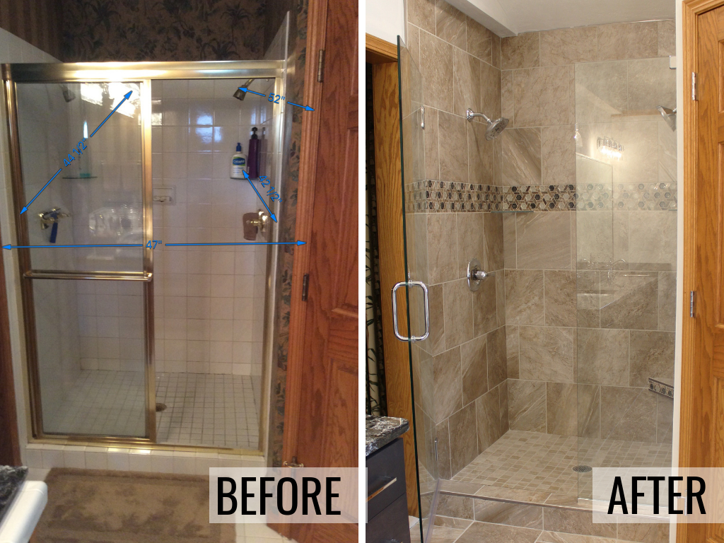 Before and after of a custom tiled shower in a Moline, IL bathroom remodeled from start to finish by Village Home Stores. | villagehomestores.com
