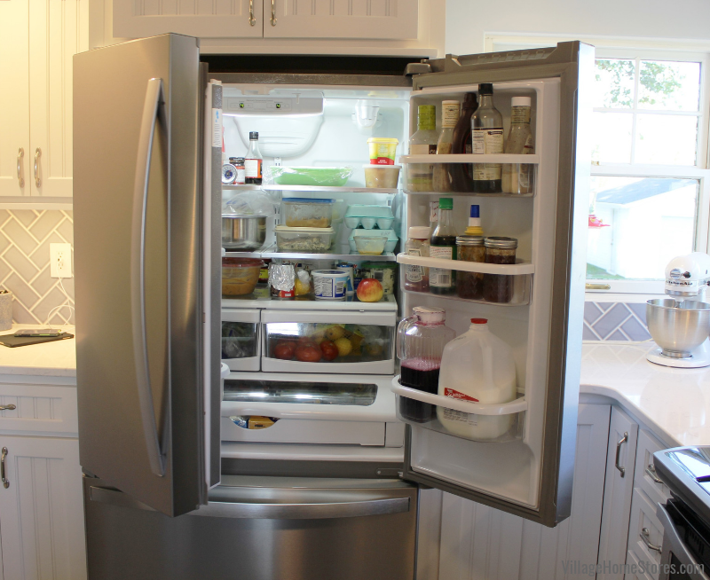 Whirlpool full depth WRF535SWHZ french door refrigerator with internal water dispenser. Kitchen appliances and complete remodel from start to finish by Village Home Stores. | villagehomestores.com