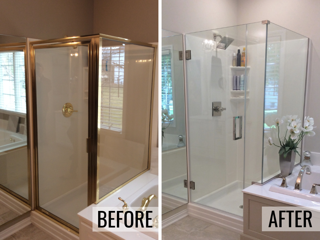 Who remodels bathroom in the Quad Cities? We do! Bathroom remodel with new shower entry in Bettendorf, Iowa. Remodeled from start to finish by Village Home Stores. | villagehomestores.com