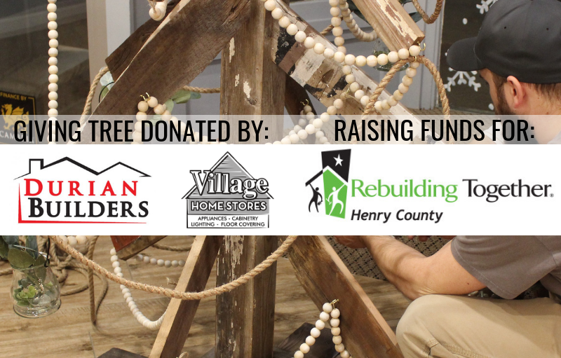 Geneseo Christmas Tree built by Durian Builders and Village Home Stores to benefit Rebuilding Together Henry County. | villagehomestores.com