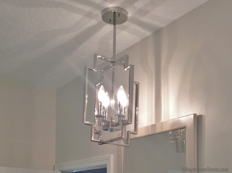 Kichler Downtown series pendants in a Quad Cities Bathroom Remodeled by Village Home Stores. | villagehomestores.com