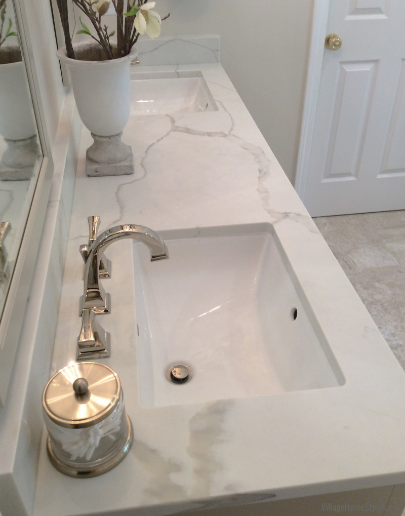 Marble look quartz counters in Quad Cities. | villagehomestores.com