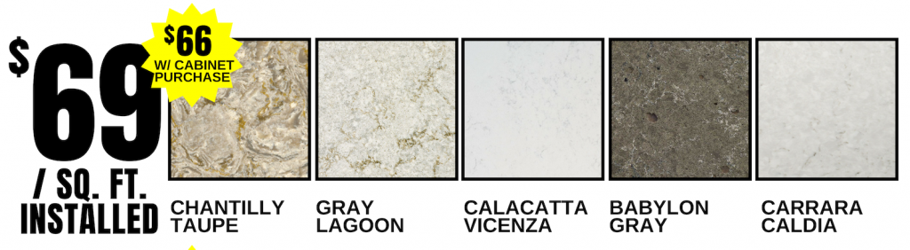Select Quartz counters available for $69 installed for a limited time. | villagehomestores.com