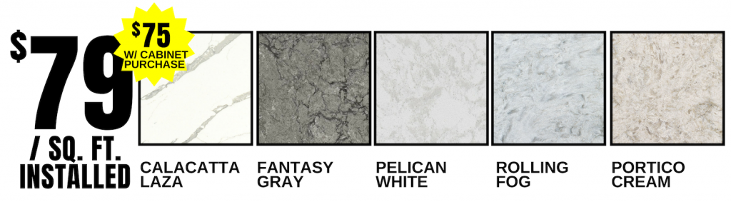 Select Quartz counters available for $79 installed for a limited time. | villagehomestores.com
