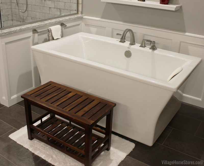 The Kohler Stargaze freestanding bath tub in a remodeled Bettendorf Iowa bathroom. Bathroom remodel from start to finish by Village Home Stores. | villagehomestores.com
