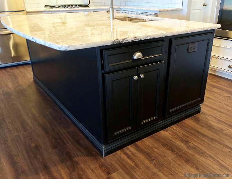 Geneseo, IL kitchen design with a kitchen island painted matte black. Kitchen design and materials by Village Home Stores for Hazelwood Homes. | villagehomestores.com