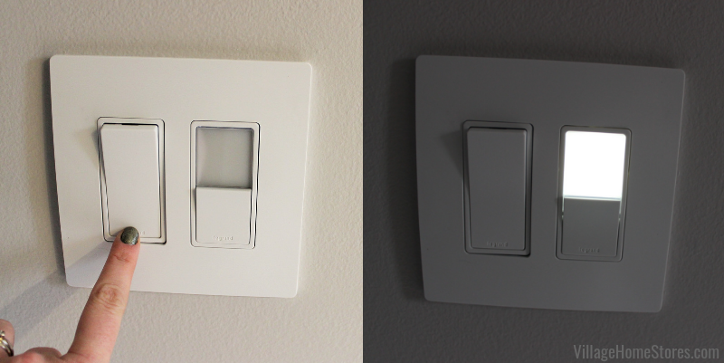 Wall switch with nightlight in an Eldridge, Iowa master bathroom remodeled start to finish by Village Home Stores. | villagehomestores.com