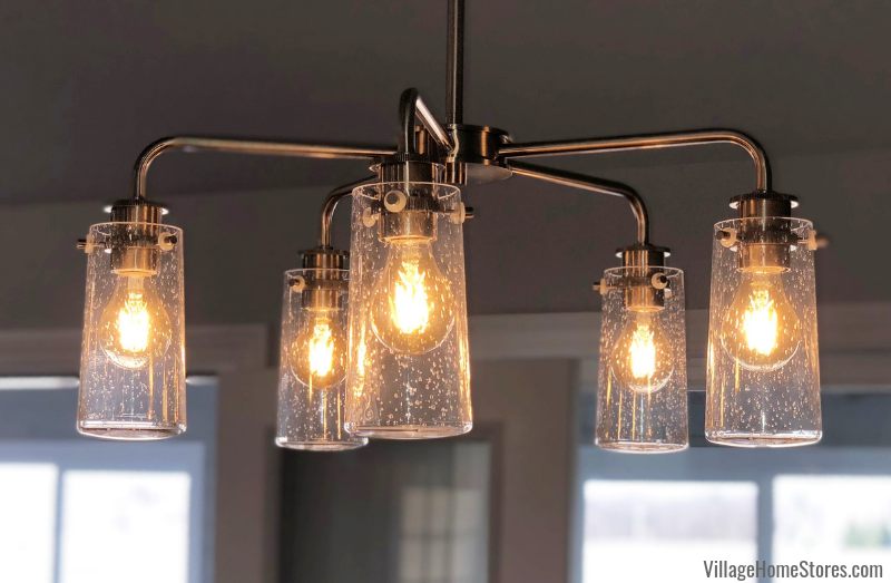 seeded glass light fixture in a Geneseo, IL kitchen. Lighting by Village Home Stores for Hazelwood Homes. | villagehomestores.com