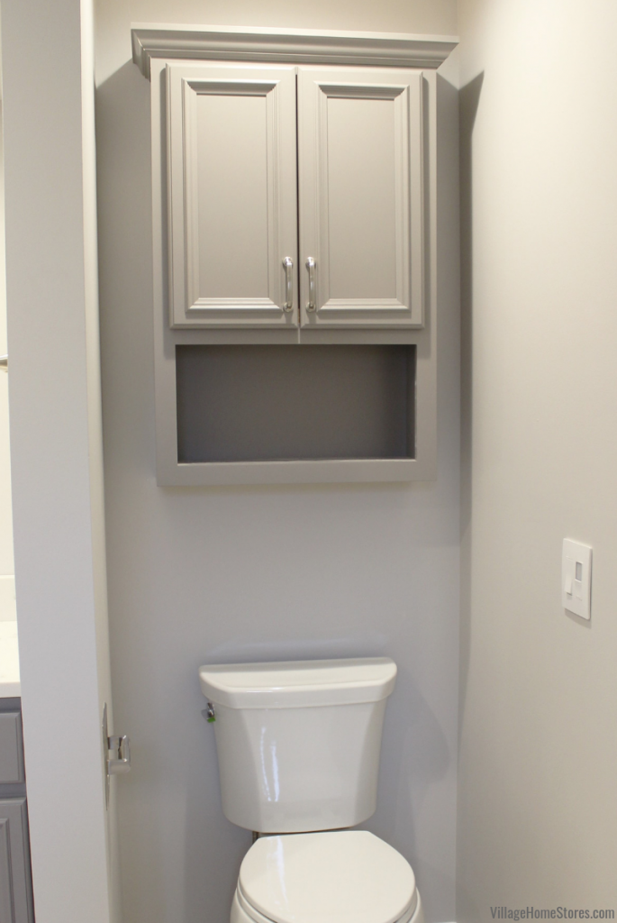 Toilet topper bath cabinet in an Eldridge, Iowa bathroom remodeled start to finish by Village Home Stores. | villagehomestores.com