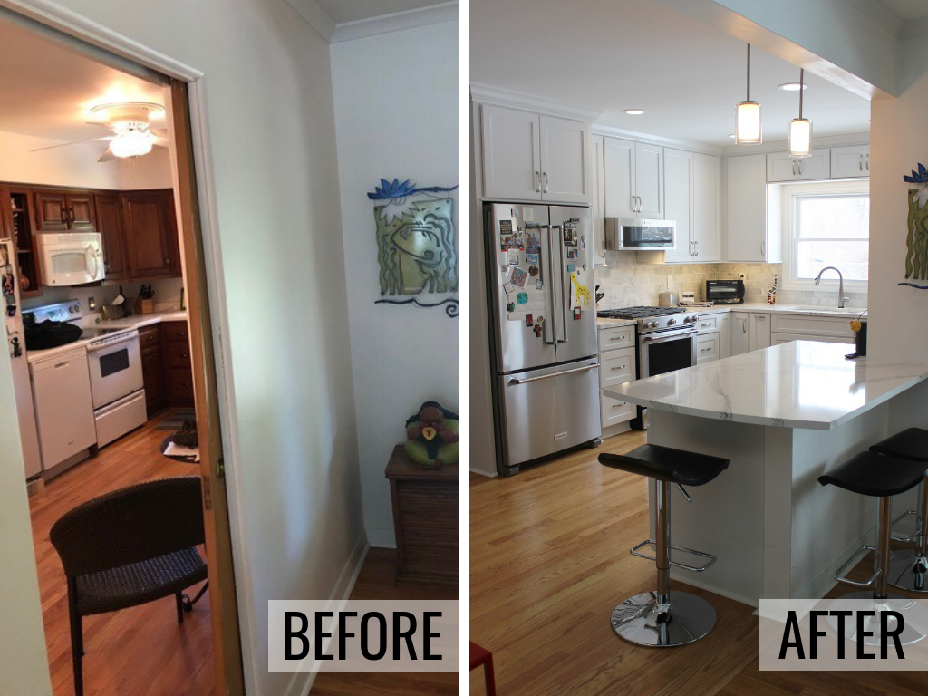 Before and after image of remodeled kitchen with wall removed and peninsula added in Moline, IL. Complete remodel from start to finish by Village Home Stores. | villagehomestores.com