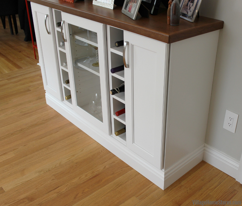 Wine cabinet with wood countertop. Complete kitchen remodels from start to finish. | villagehomestores.com