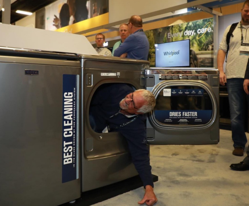 Maytag dryers so large and durable that dealers can CLIMB into them! Image Via AVB Brandsource Team.