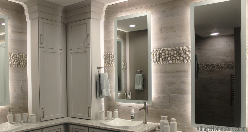 Custom backlit mirror with Diode LED tap lighting. Design and product from Village Home Stores