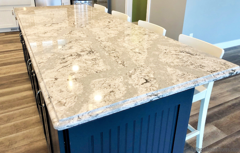 Dura Supreme cabinets paired with Cambria Summerhill Quartz counters in Prophetstown, IL. Design and materials from Village Home Stores for Hazelwood Homes of the Quad Cities.