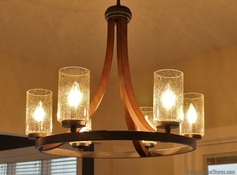 Kichler 6 light Grand Bank chandelier fixture in Dinette area of a new Maple Leaf Heights home. Lighting from Village Home Stores for Hazelwood Homes. Geneseo/Quad Cities