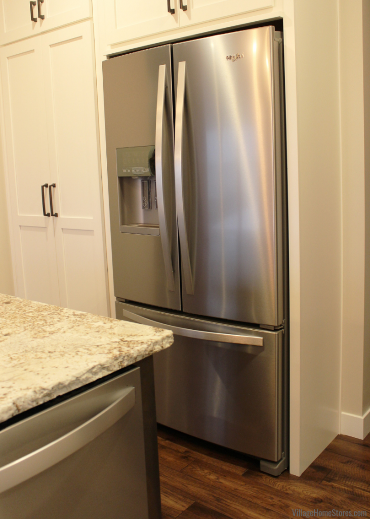 Whirlpool French Door refrigerator in Stainless Steel. Kitchen design and appliances from Village Home Stores for Hazelwood Homes. Geneseo/Quad Cities