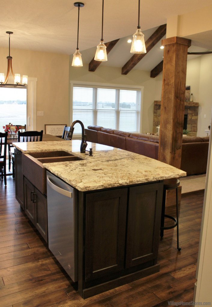 Rustic Transitional kitchen in a great room with kitchen design and lighting from Village Home Stores for Hazelwood Homes.