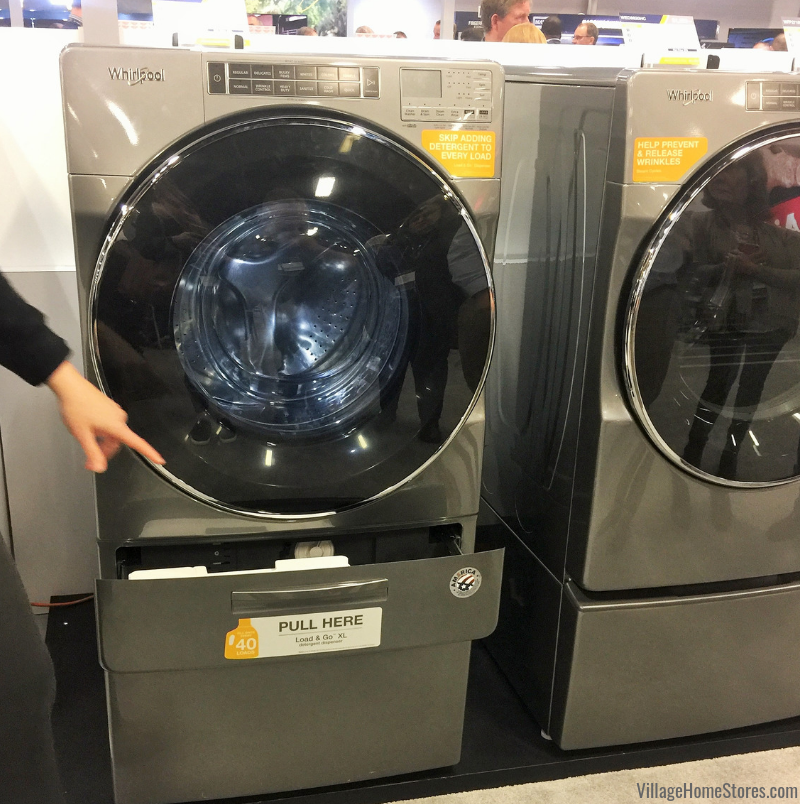 The new load-and-go system in the Whirlpool frontload laundry line allows you to pre-load even more loads of detergent to make laundry easier! | villagehomestores.com