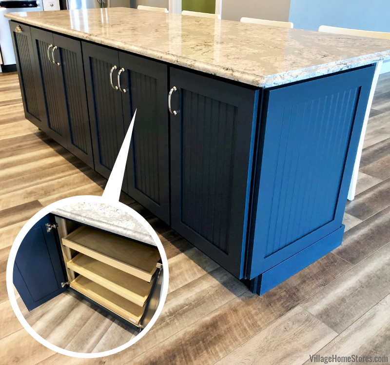 Gale Force Dura Supreme island cabinetry with slideout shelves in a Prophetstown, IL kitchen. Design and materials from Village Home Stores for Hazelwood Homes of the Quad Cities.