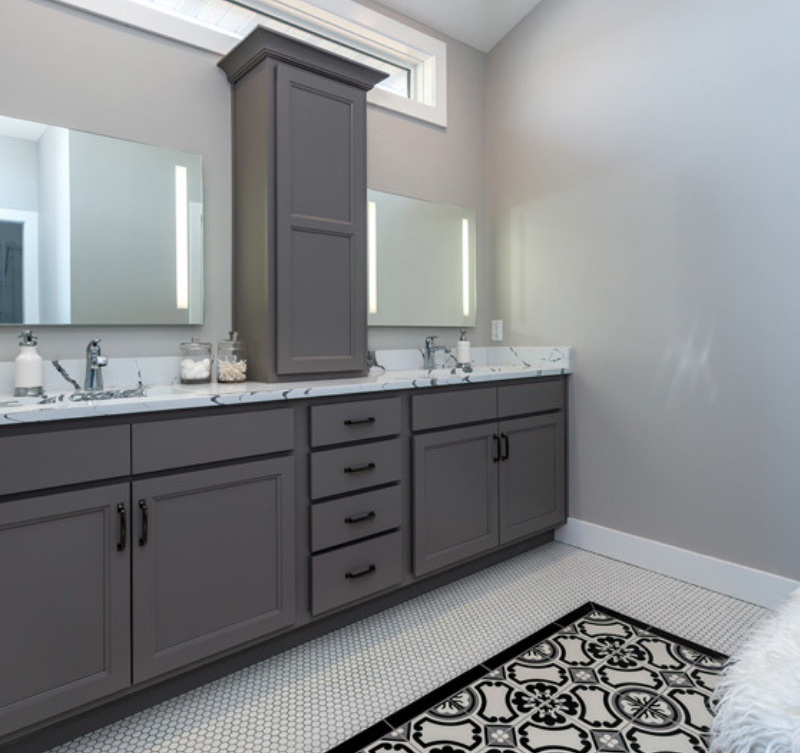"Painted ""Fog"" gray cabinetry in a Master Bathroom of a Bettendorf, Iowa home on QCBR Spring Parade of Homes list."