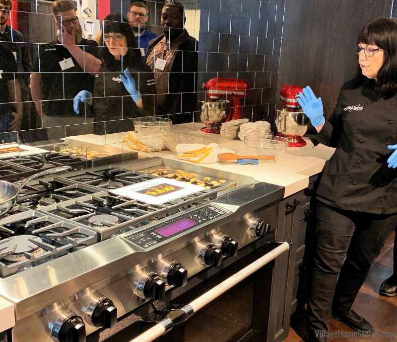 Chef Ann Nolan teaches some of our team how easy it is to use and clean the chrome-infused griddles on our KitchenAid products.