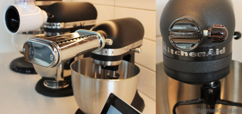 Matte Black KitchenAid mixer shown with many front attachments.