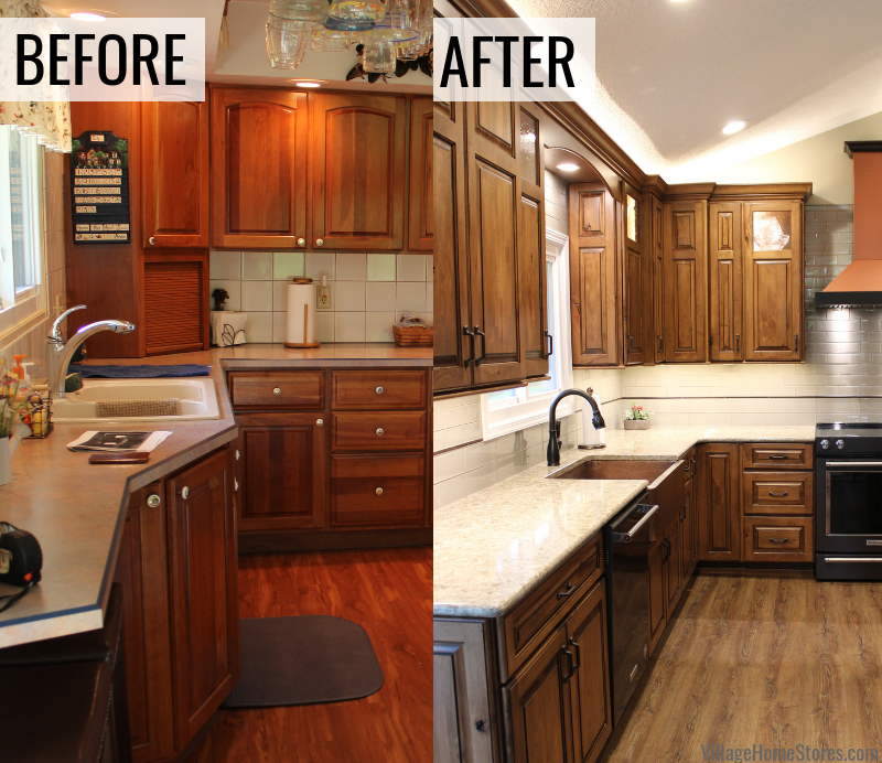 Before and after photos of an East Moline Quad Cities kitchen remodeled from start to finish by the kitchen experts at Village Home Stores.