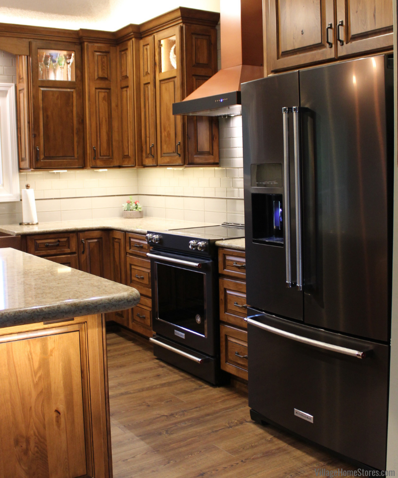 Black Stainless Steel KitchenAid appliances in a newly remodeled East Moline kitchen from Village Home Stores. Your locally-owned Quad Cities appliance experts.