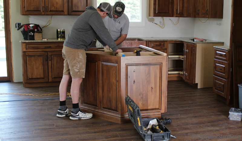 Cambria installation day with Blackstone at a Quad Cities kitchen remodeled by Village Home Stores.