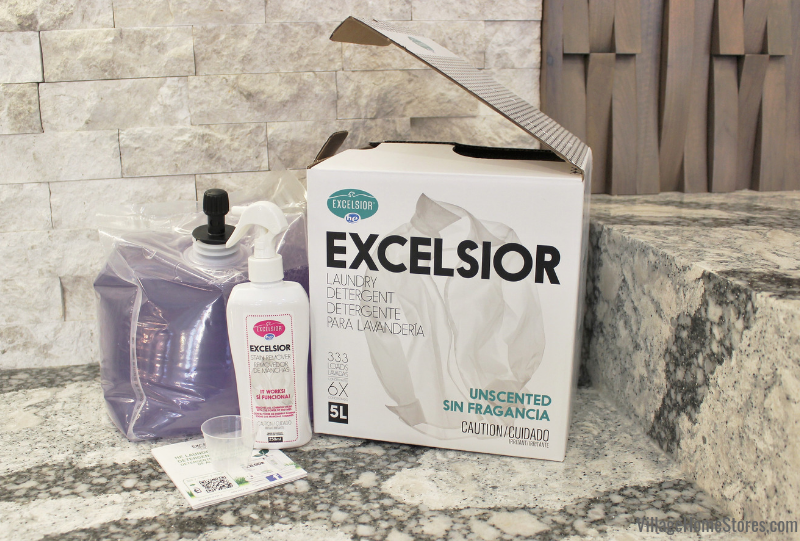 6 times concentrated HE Excelsior liquid laundry detergent available in starter packs and refills at Village Home Stores.